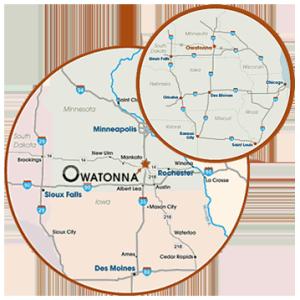Map of Owatonna MN