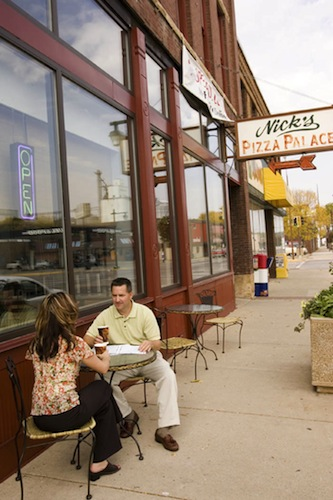 Man and Woman Having a Meeting Outside in Owatonna MN